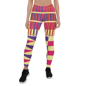 (LIFE) Kente-Inspired Hand-Sewn 4-Way Stretch Leggings
