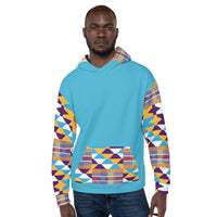 Blue Hand-sewn Men Kente pattern Fall/Winter Hoodie Sweatshirt-Phany's