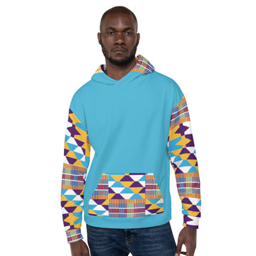 Blue Hand-sewn Men Kente pattern Fall/Winter Hoodie Sweatshirt