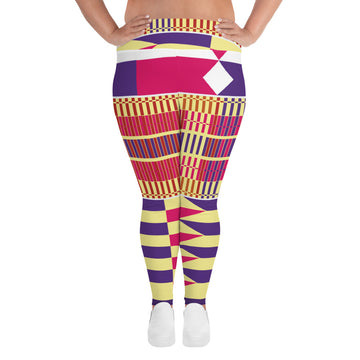 (LIFE) Kente-Inspired Hand-Sewn 4-Way Stretch Plus Leggings