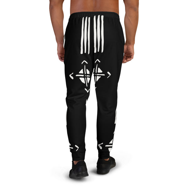(INHALE) Black Mudcloth pattern Men's Joggers-Phany's