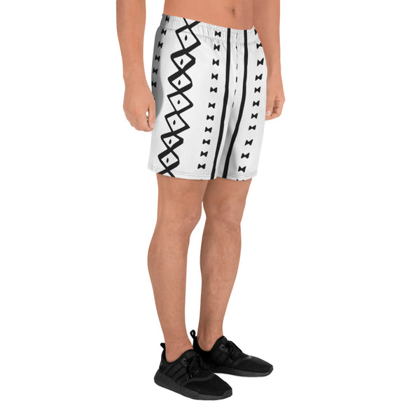 (EXHALE) MudCloth-Inspired Men's Luxury Athletic Long Shorts-Phany's