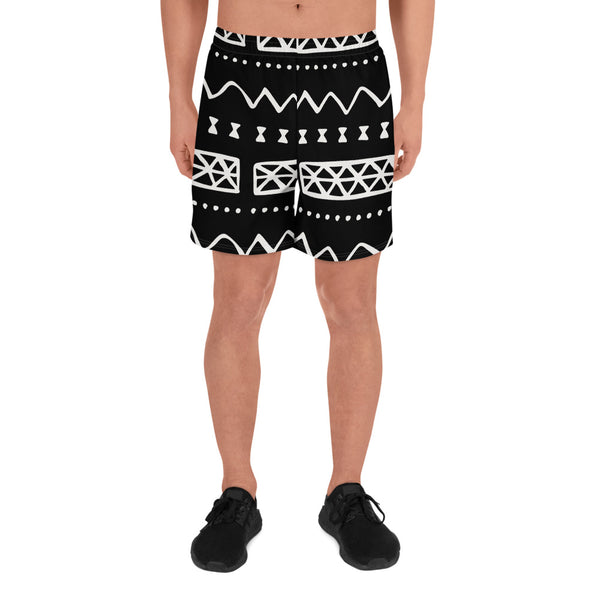 (INHALE) Mudcloth-Insured Hand-Sewn Men's Luxury Athletic Long Shorts - Phany's