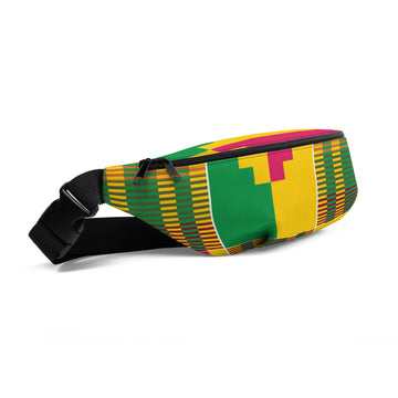 (ESSENCE) Kente-Inspired Hand-Sewn Fanny Pack
