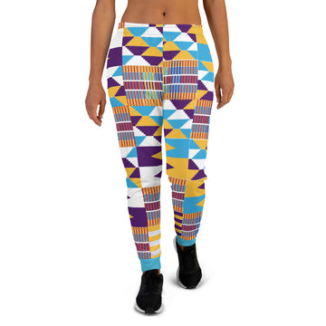 Blue Hand-sewn kente pattern Women's Joggers