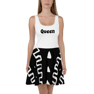 Cute White & Black Hand-sewn Mudcloth Bogolan pattern Dress