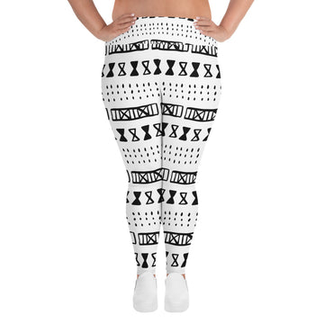 (EXHALE) MudCloth-Inspired Hand-Sewn 4-Way Stretch Luxury Plus Leggings