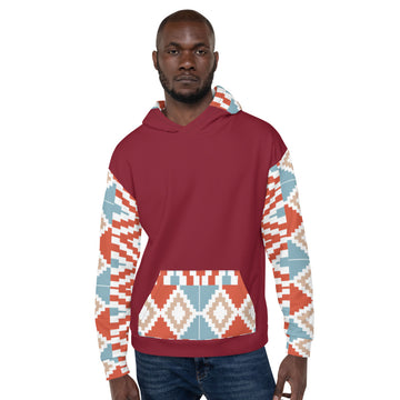 Handmade Men Kente pattern Hoodie Sweatshirt