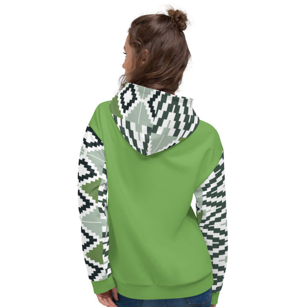 Light Green Quality Kente pattern Fall/Winter Hoodie Sweatshirt-Hoodie-Phany's