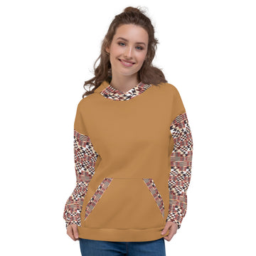 Brown Quality Kente pattern Hand-sewn Fall Winter Hoodie Sweatshirt