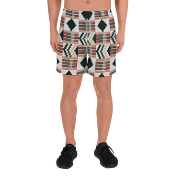 (DIAMOND) Kente-Inspired Men's Luxury Athletic Shorts