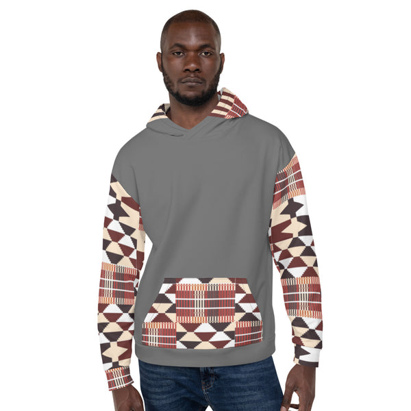 Grey Hand-sewn Men Kente pattern Fall/Winter Hoodie Sweatshirt-Phany's