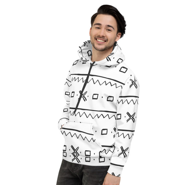 (EXHALE) Men hand-sewn Mud Cloth pattern Fall/Winter Hoodie-Phany's