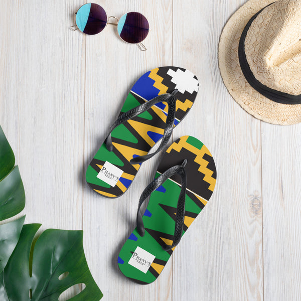 (POWER) Kente-inspired Durable Luxury Flip-Flop Slippers-Phany's