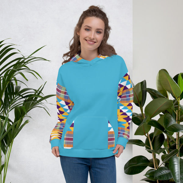 Blue Hand-sewn kente pattern Fall Winter Hoodie Sweatshirt-Phany's