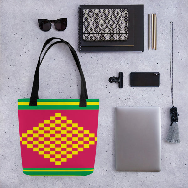 (ESSENCE) Diamond-shape Hand-sewn Kente-inspired Tote bag-Phany's