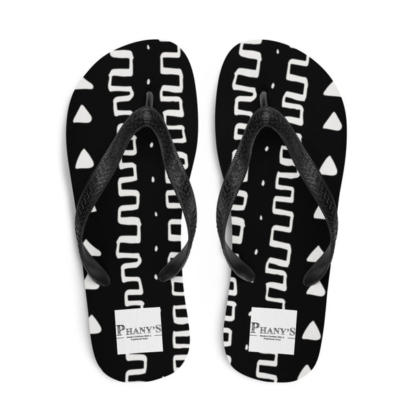 (INHALE) MudCloth-Inspired Durable Luxury Flip-Flop Slippers - Phany's
