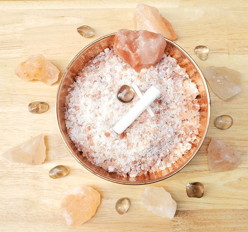 Soak the Day Away Bath Salts: Smoky Quartz, Selenite, Clary Sage, Lavender, Bergamot, Lemon