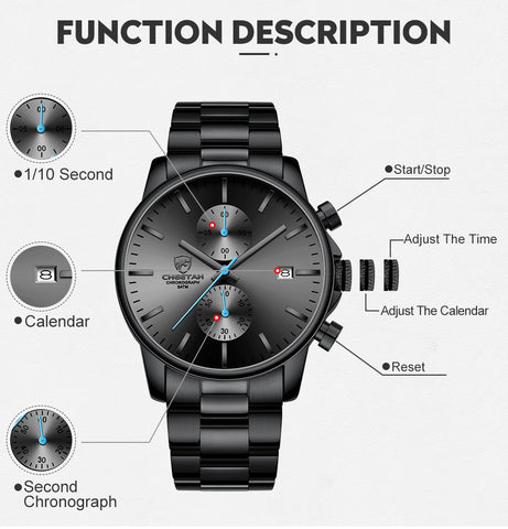 multifuction chronograph watch