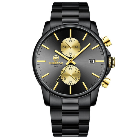 gold color stainless steel watch