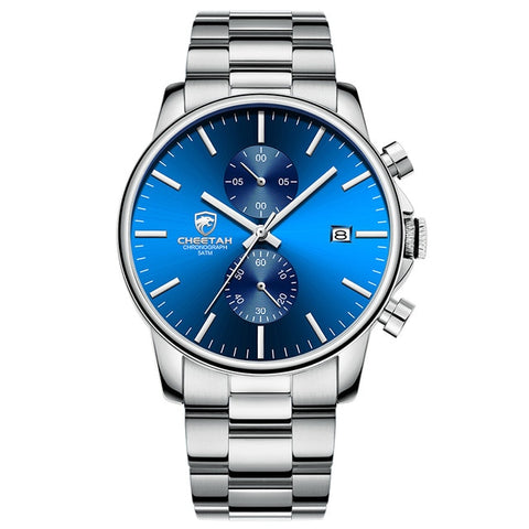 blue color quartz analog watch