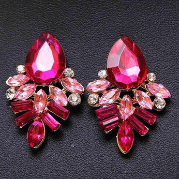 NEW Women Fashion Jewelry Style Blue/Black/Pink Earrings Handmade Rhinestone sweet stud crystal Dangle earrings for women girl