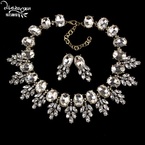 Dvacaman Brand 2018 Fashion Wedding Party Jewelry Sets Women Indian Bridal Statement Necklace&Earrings Accessory Love Gifts O40