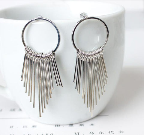 2016 Dangle Fashion Vintage Earrings For Women Jewelry Bright Tassel Earrings Flower Ancient Long Drop Earrings Dangle Brincos
