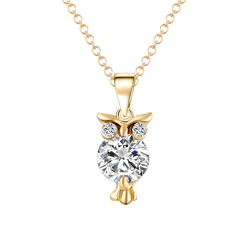 IF ME Fashion Gold Color Chain Necklace Crystal Zircon Lovely Animal Owl Pendants Silver Color Necklaces Jewelry For Women Gift