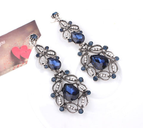 Fashion Big long Blue crystal drop earrings for women vintage flower silver Color bride Earrings wedding Jewelry accessories