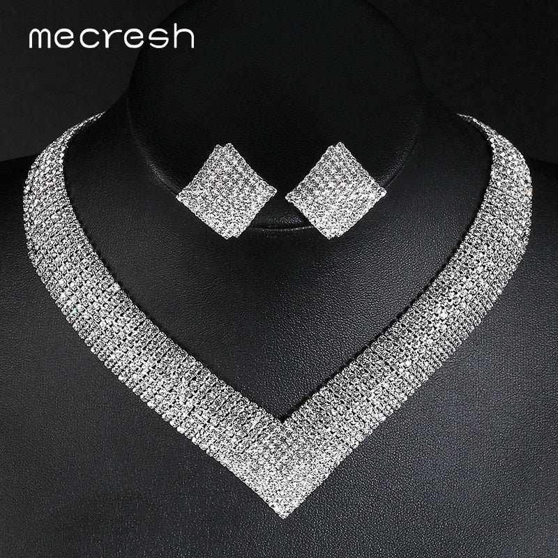 Mecresh Classic Crystal Wedding Jewelry Sets for Women Clear Geometric Rhinestone  Necklace Set Bridal Engagement Jewelry e87de8bd04bb