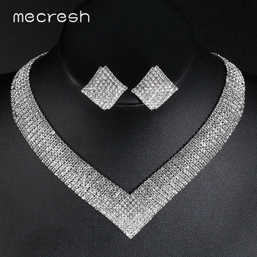 Mecresh Classic Crystal Wedding Jewelry Sets for Women Clear Geometric Rhinestone Necklace Set Bridal Engagement Jewelry MTL475