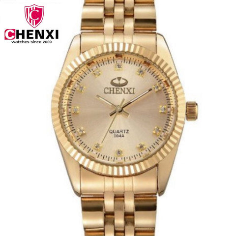 CHENXI Women Golden Watches Ladies Gold Watch gold Bracelets Gifts Quartz Watches Waterproof Rhinestones Quartz Retro Watch