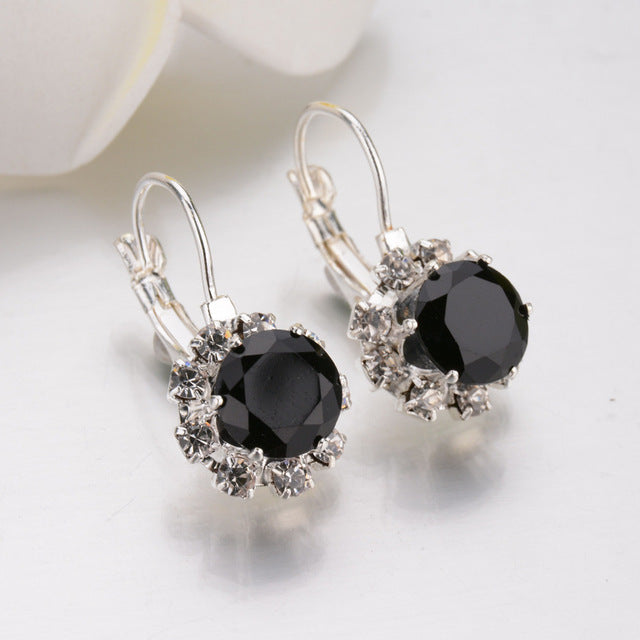 4 Color Big Gem Stone Rhinestone Drop Earrings AAA Zirconia Cuff Earring For Women Jewelry Pendientes Mujer