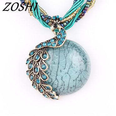 ZOSHI Blue natural crystal stone pendant necklace fashion peacock pendant necklace for women jewelry