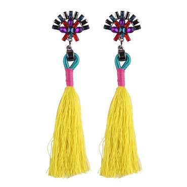 Best lady New Fashion Statement Jewelry Cheap Tassel Long Earring For Women 13 Colors Wedding Dangle Drop Earrings Wholesale