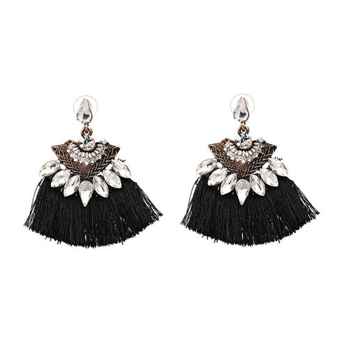 Bohemia Dangle Drop Earrings Women Accessories Fan Shaped Cotton Handmade Tassels Fringed Earrings Ethnic Jewelry