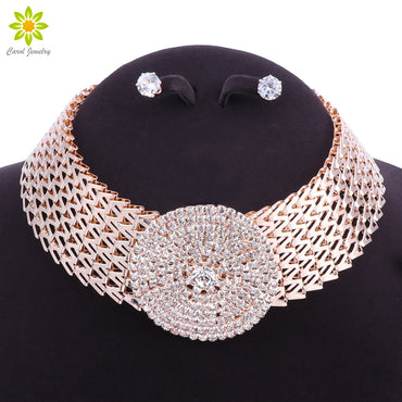 Crystal Bridal Jewelry Sets Gold Color Rhinestone Necklace Wedding Engagement Jewelry Sets for Women