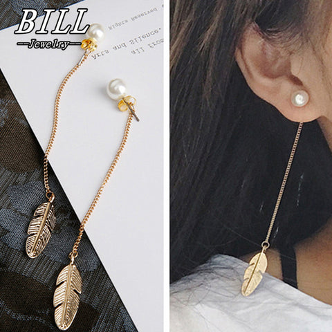 ES287 Simulated Pearls Long Tassel Dangle Earrings For Women Leaf Feather Drop Brincos Bijoux boucle d'oreille  Jewelry Earring