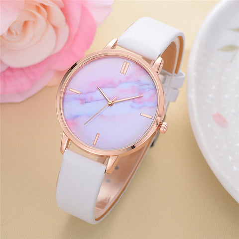 Relogio Feminino Retro Colored Marble Style Women Quartz Wristwatches Quartz Analog Women Watch Casual Ladies Watches Sale 5N