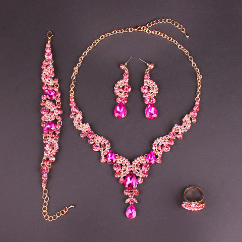 2018 Fashion Crystal Wedding Jewelry Sets for Women Brides Party Costume Jewellery Luxury Indian Bridal Necklace Earrings Sets