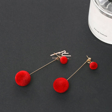 Fashion Red Black Plush Ball Drop Earrings For Women Korea personality Round Long Tassel Earrings Statement Jewelry Gift e0371