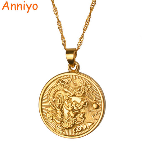 Anniyo Auspicious Dragon Pendant $ Thin Chain Gold Color Jewelry Mascot Ornaments Lucky Gifts #005825