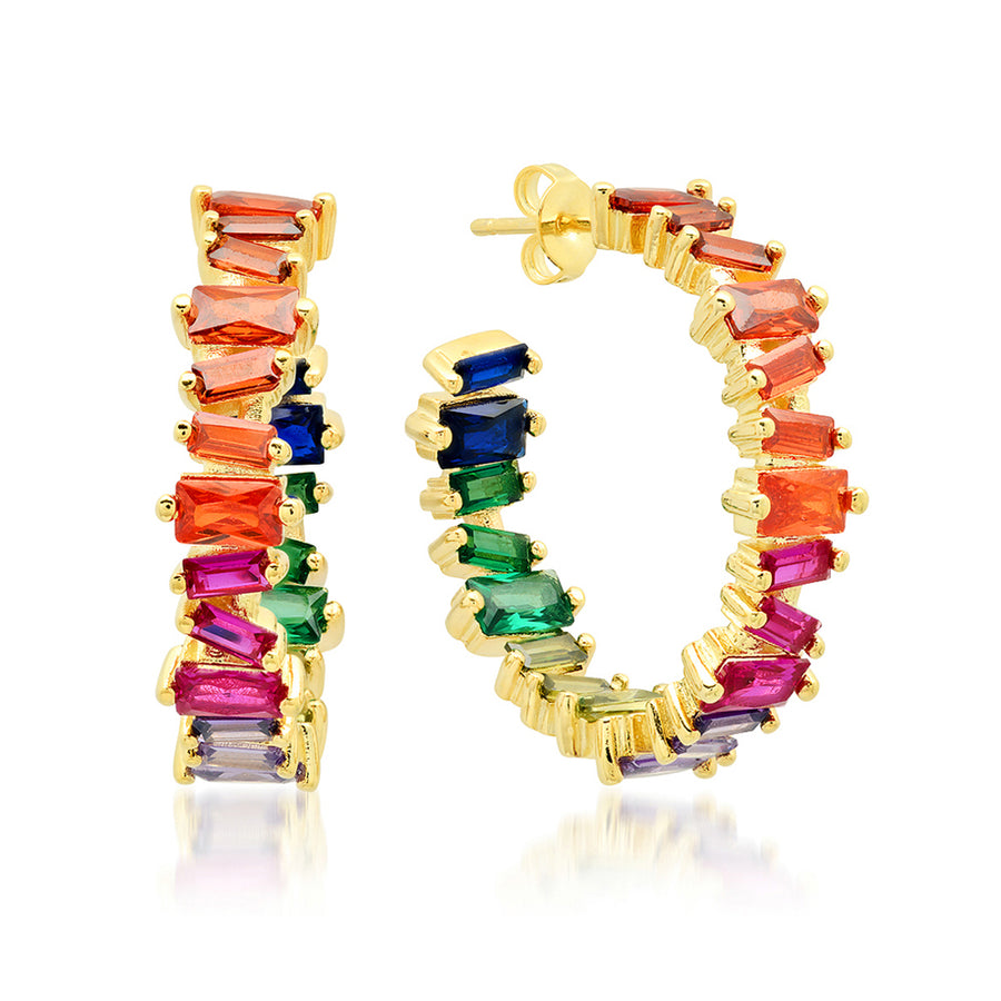 Rainbow Baguette Hoops - Lolita Be Mine