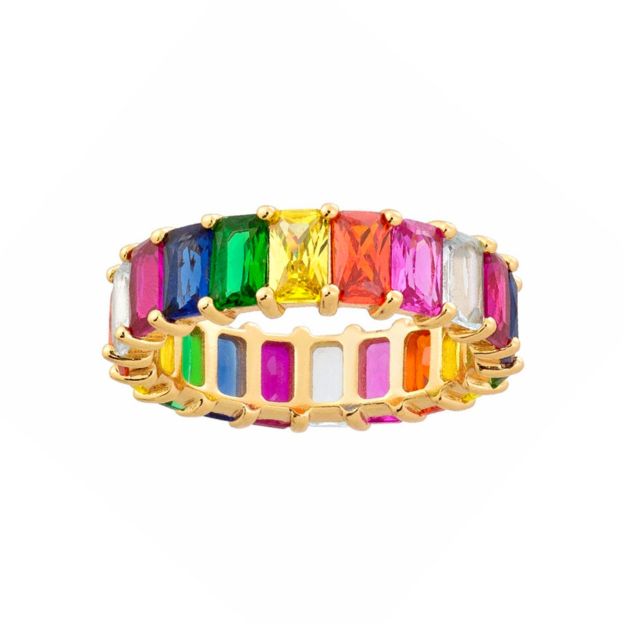 Rainbow Emerald-Cut Eternity Band - Lolita Be Mine