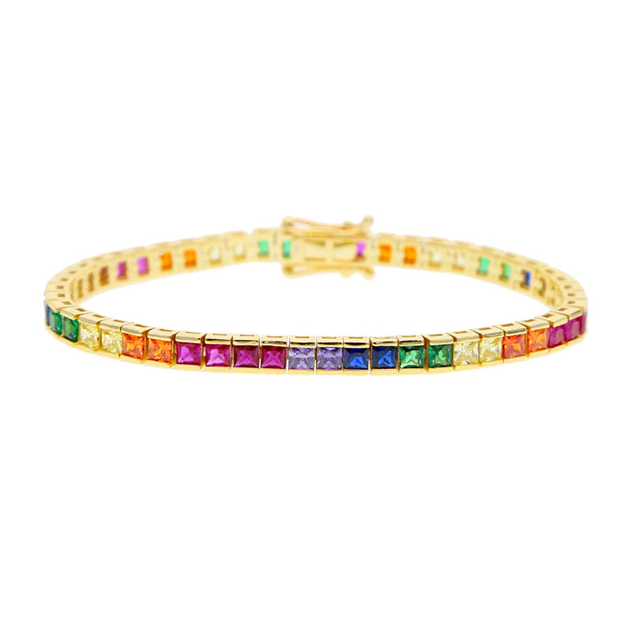 Rainbow Princess Cut Tennis Bracelet - Lolita Be Mine