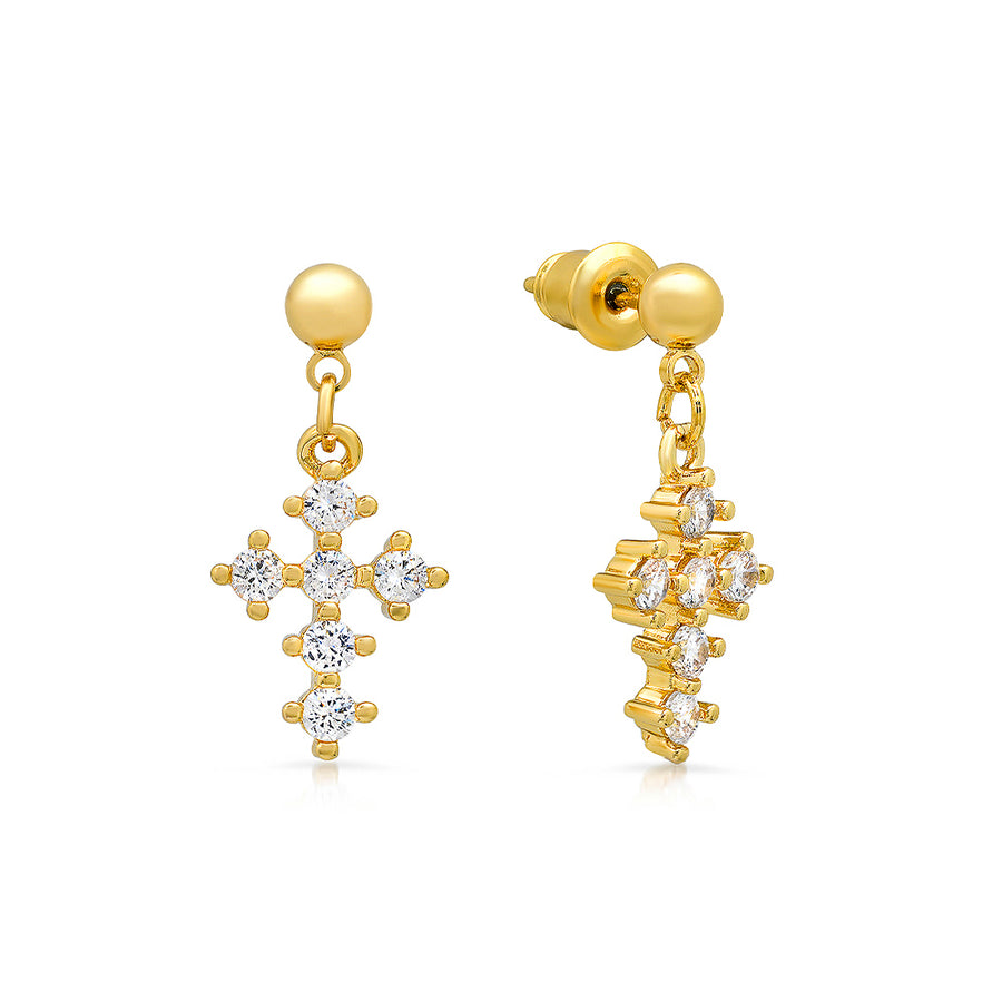 Sparkling Cross Drop Earrings