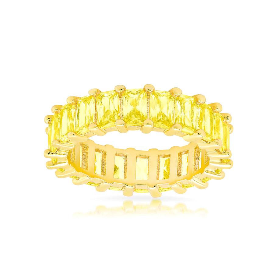 Luxe Canary Yellow Emerald Cut Eternity Band - Lolita Be Mine