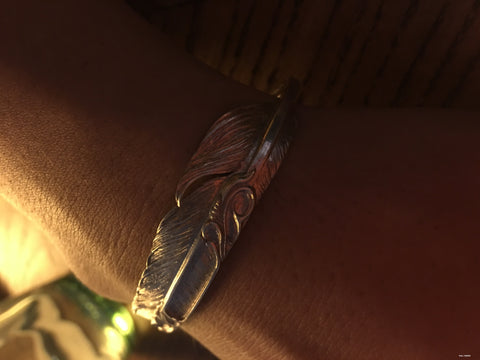 Creation Planet -- Inlaid Turquoise Feather Bracelet