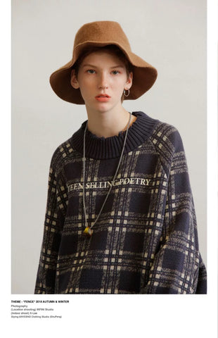 UNVESNO 18AW Vintage printed plaid knit sweater